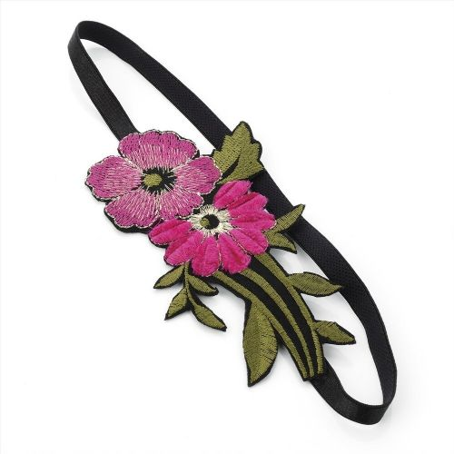 Fuchsia Fabric Double Flower Elastic Headband